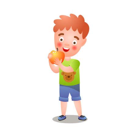 Cute red hair boy in green tshirt eating fresh apple Çizim