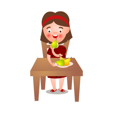 Cute brunette girl stay at kitchen table and eat fresh eco pears