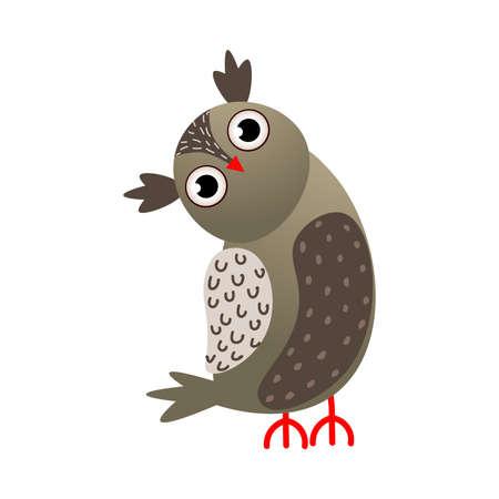 Grey color owl bird with red beak looking Çizim