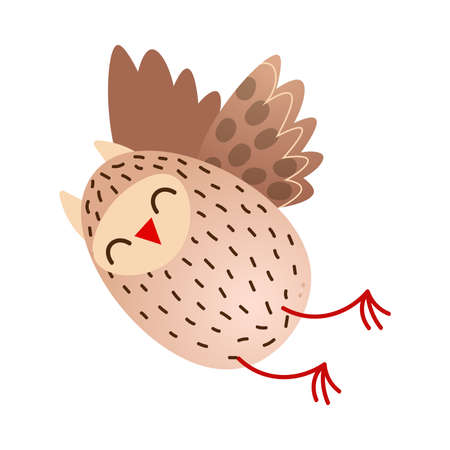 Cute happy flying owl bird with red beak Çizim