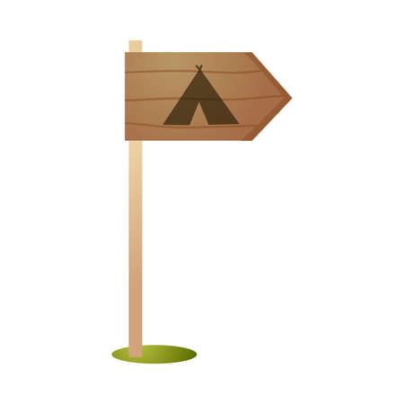 Camping wood sign board, show direction to place