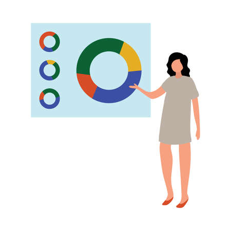 Business corporate meeting office woman manager shows pie chart