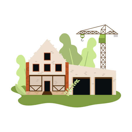 New construction of house with stones or white bricks with crane
