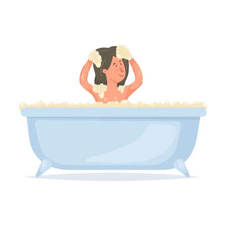Cute young girl take bath, washing her head