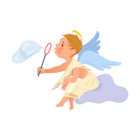 Cute funny baby angel stay on sky cloud Illustration