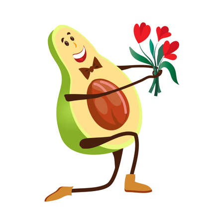 Elegant avocado character give a bouquet of flower