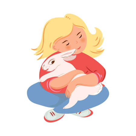 Blonde girl in red sweater is hugging white rabbit Çizim