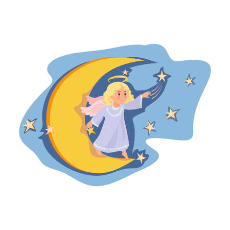 Cute angel girl stay at night moon, move stars