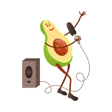 Cute singing avocado character with microphone and big speaker