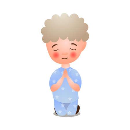Cute little boy offer prayer with closed eyes