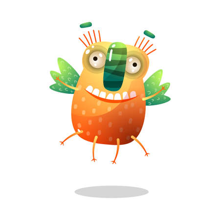 Cute funny orange monster with green wings is flying