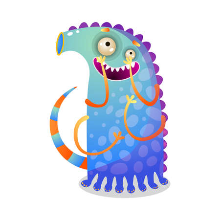 Cute funny colorful monster with tail and four hands Ilustração
