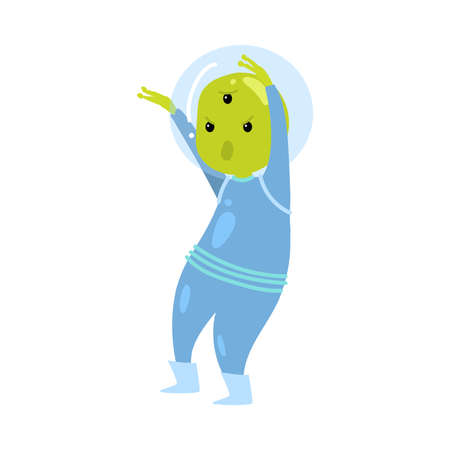 Cute green alien in blue clothes is scary his friends