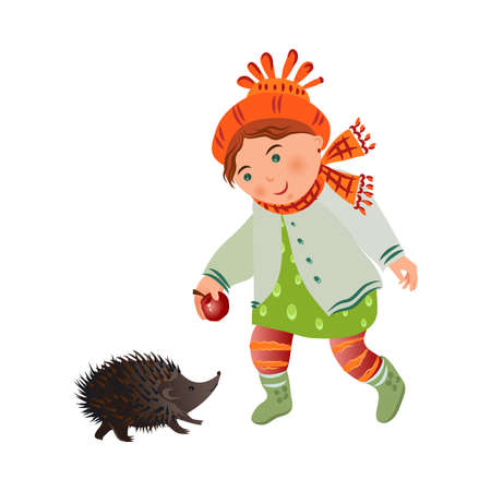 Cute smiling girl in autumn clothes give red apple to hedgehog Illustration