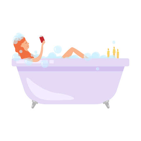 Cute red hair woman take a bath with wine glass