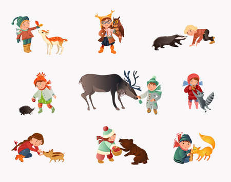 Set of different cute children in autumn clothes with animals