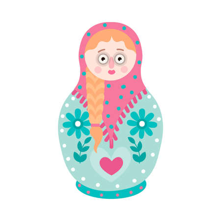 Cute colorful souvenir nesting doll, flower russian design. Flat style. Vector illustration on white background