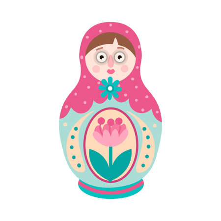 Colorful ornamental russian traditional nesting doll, with flower