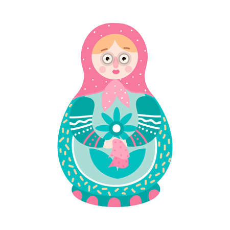 Cute colorful handcrafted russian ornamental nesting doll Stock Illustratie