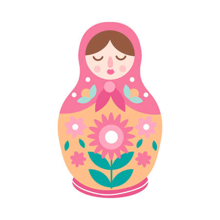 Drawing colorful cute nesting doll, ornamental style