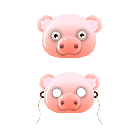 Cute pink color kid farm pig mask with eyes and holes. Cartoon style. Vector illustration on white background Ilustração