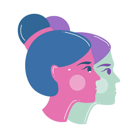 Two woman head, gemini zodiac sign, modern design Illusztráció