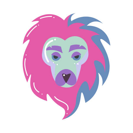 Colorful lion head, leo zodiac sign, modern design