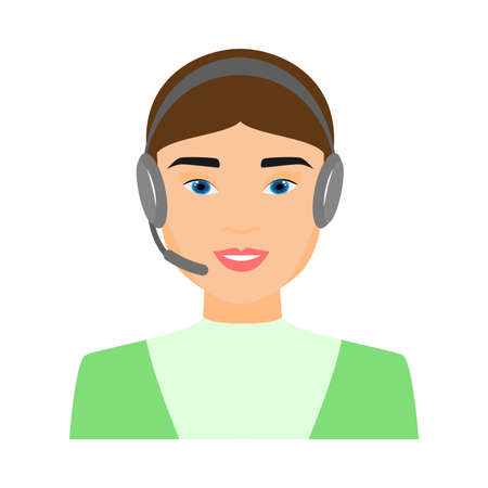 Cute sexy call center woman operator in green clothes Stock Illustratie