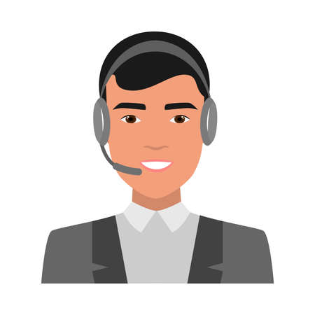 Cute smiling young boy, call center operator avatar. Flat style. Vector illustration on white background