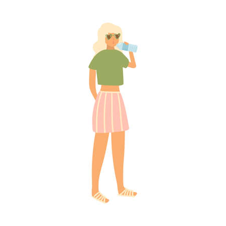 Cute blonde girl with sunglasses drink water at the beach Ilustração
