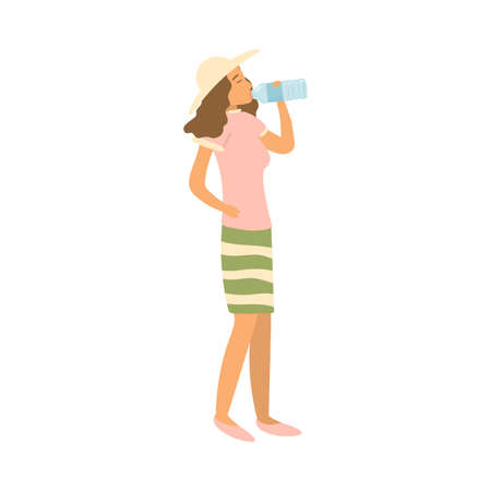 Cute young girl in summer hat drinking cold water