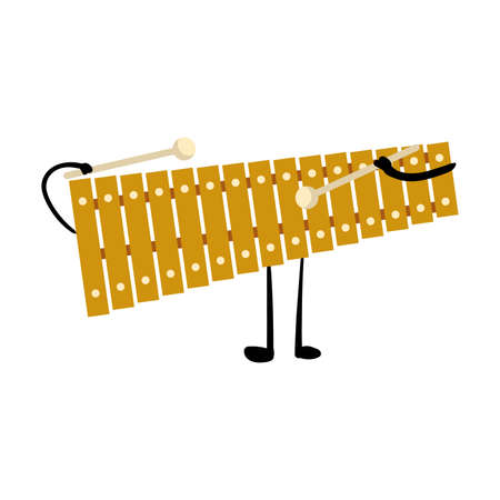 Lindo personaje de xilófono de metal dorado con manos y piernas