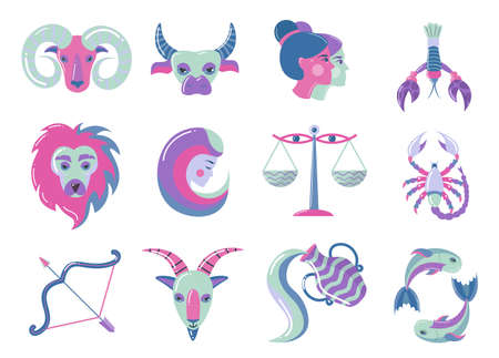 Set of modern color zodiac signs, for web design