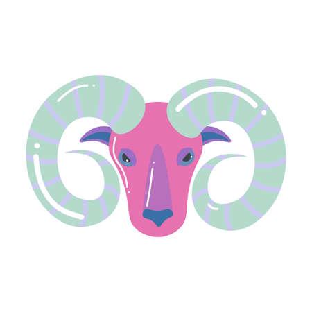 Pink grey color aries zodiac, modern design Illustration