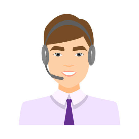 Cute call center operator, boy in white shirt and blue tie