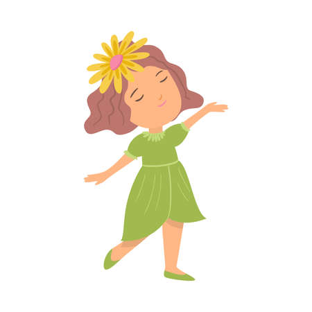 Cute happy smiling girl in green dress and yellow flower Ilustração