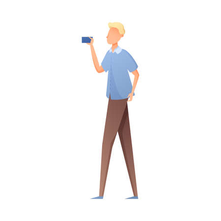 Cute blonde hair young man in blue shirt make selfie. Flat style. Vector illustration on white background