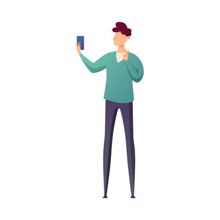 Cute brunette student boy making selfie with modern smartphone. Flat style. Vector illustration on white background