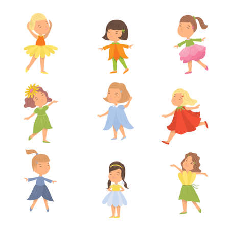 Set of cute happy kids girl in colorful flower clothes. Flat style. Vector illustration on white background