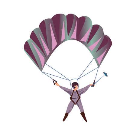 Cute modern parachuter in clothes make selfie photo in air
