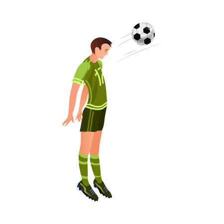 Cute soccer player in black green uniform make head ball shot. Cartoon style. Vector illustration on white background