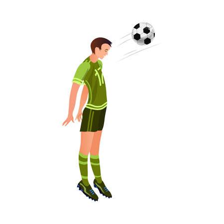 Il calciatore carino in uniforme verde nera fa un colpo di palla alla testa. Stile cartone animato. Illustrazione vettoriale su sfondo bianco Vettoriali