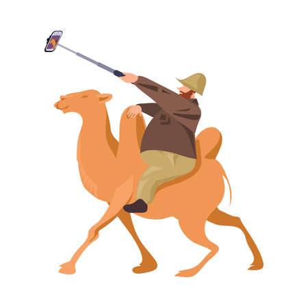 Fat european tourist man ride on camel and make selfie