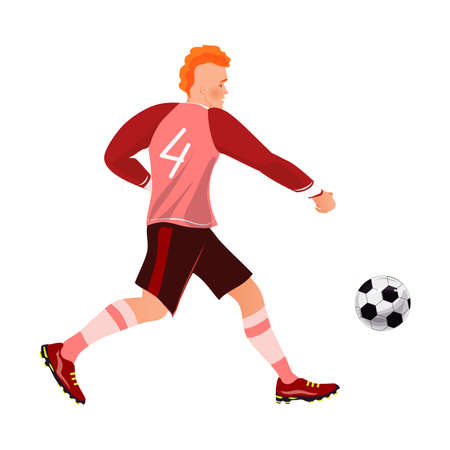 Red hair fashion modern soccer player dribbling