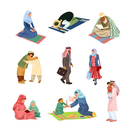 Set of different arabic muslim people in daily activities