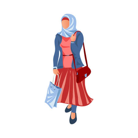 Muslim woman in long red dress was at city shopping mall. Cartoon style. Vector illustration on white background