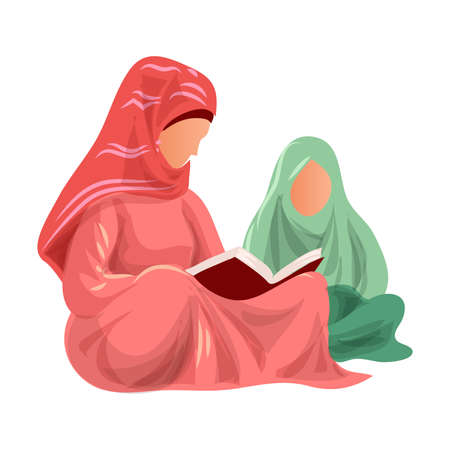 Muslim mother in red clothes read Koran to her daughter in green clothes. Cartoon style. Vector illustration on white background Ilustração