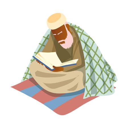 Old muslim white bearded man reading saint koran book. Cartoon style. Vector illustration on white background
