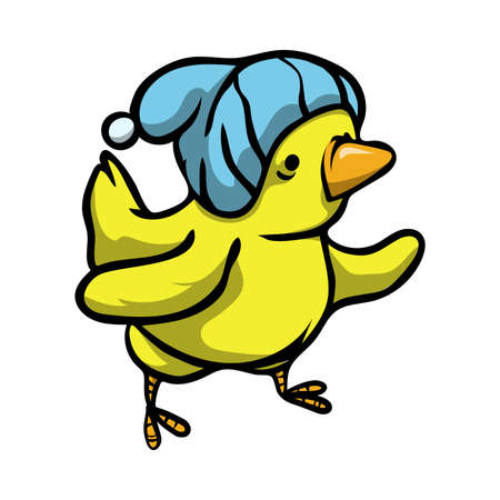 Cute funny yellow bird with different emotions and a hat on his head. Stock Illustratie