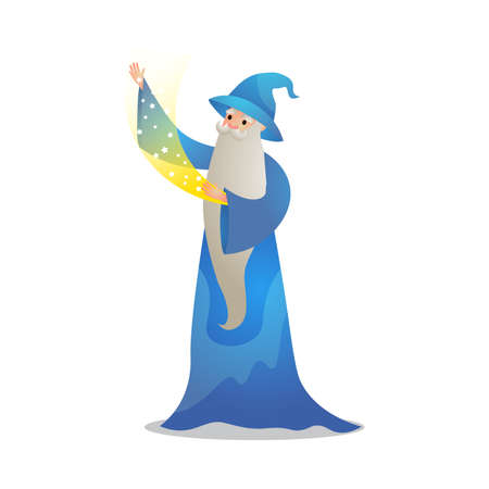 Wizard character in action poses. Colorful raster illustration in flat cartoon style